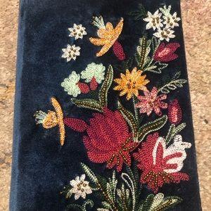 Anthropologie Velvet Embroidered Journal